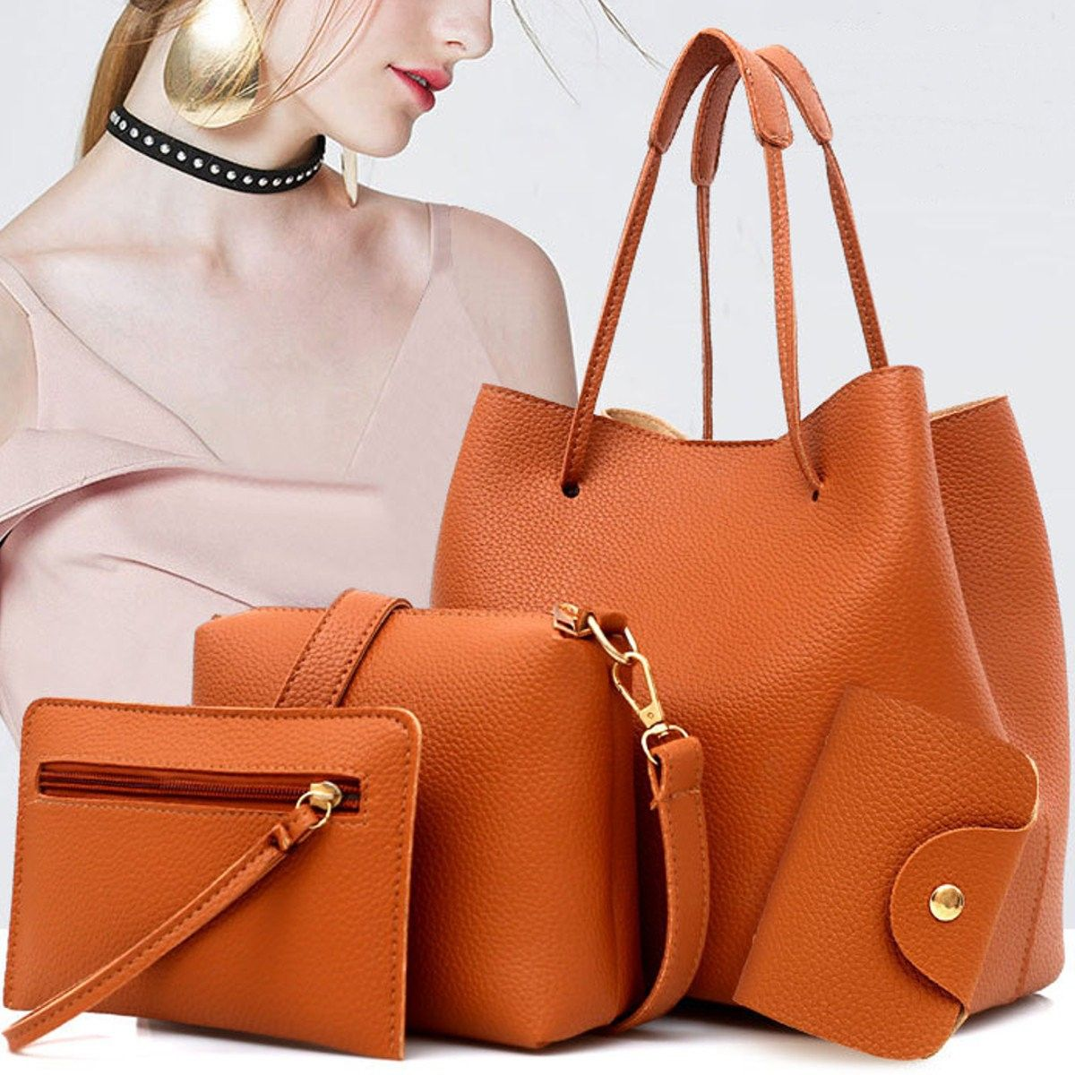 321d9daa24a7 Bagail Women 4 PCS PU Leather Tote Bag Crossbody Bag