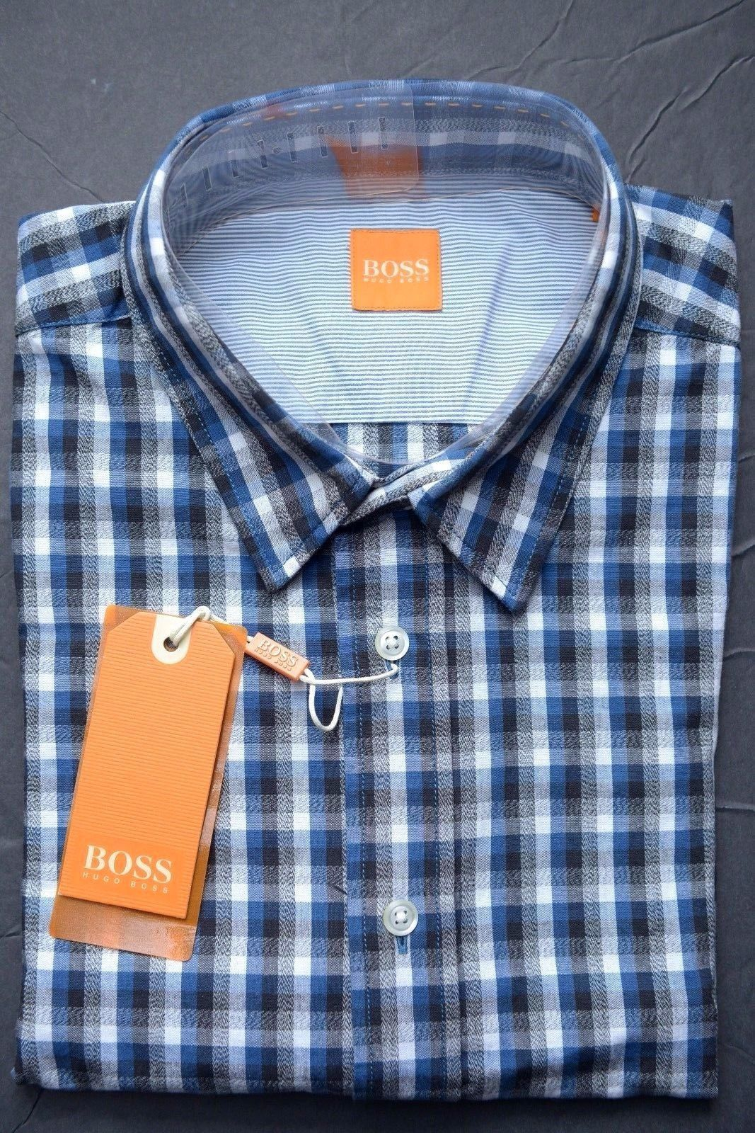 NWT HUGO BOSS ORANGE MEN'S LONG SLEEVE GRAY/BLUE PLAIDS COTTON CASUAL SHIRT  L