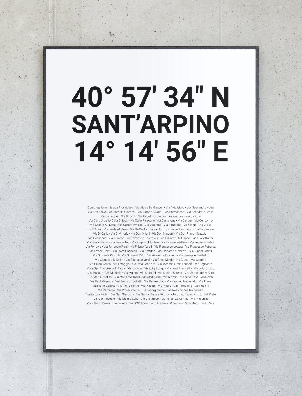 Koordinatenposter von Sant'Arpino – Komplett personalisierbar.