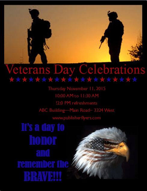 printable easy to edit and free to download veterans day flyer