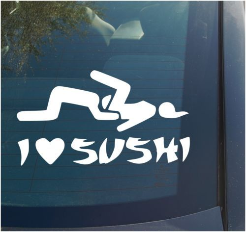 I Love Sushi Vinyl Decal Sticker Funny JDM Euro ILLEST Stance Girl - Anime guns decalssexy anime girl with big gun for car decal by skywallvinyldecals