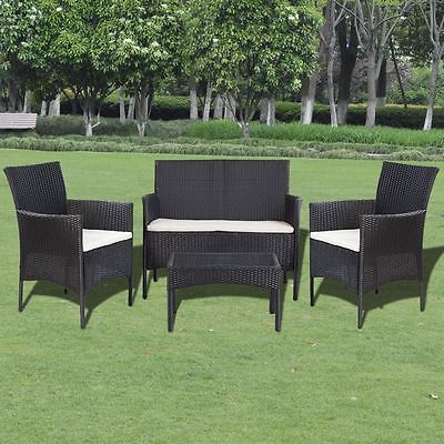 Garden Furniture Set Rattan Table Sofa Armchairs 4 Seater Cushion