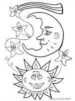 Mewarnai Gambar Bulan Bintang Dan Matahari Pola 30 Moon