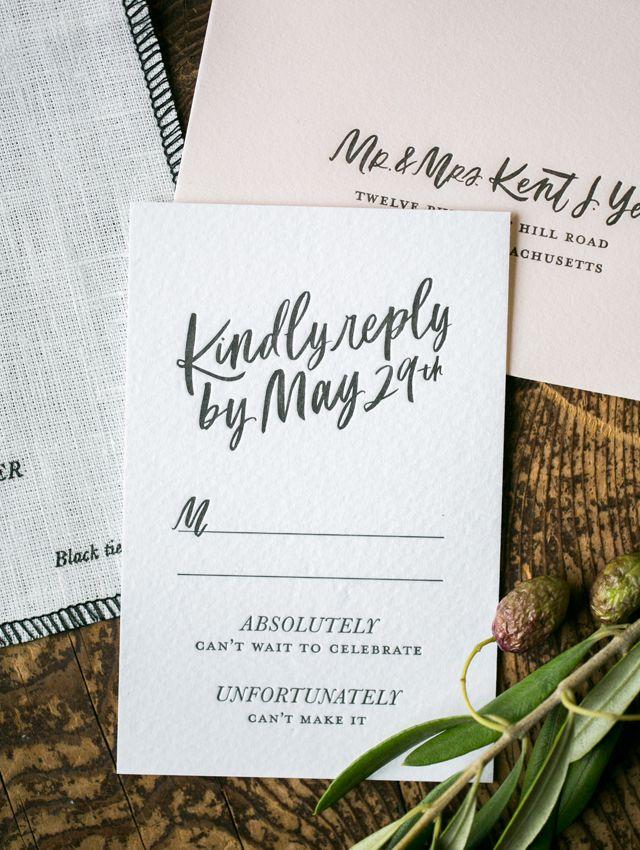 Modern Calligraphy Fabric Wedding Invitations Wedding