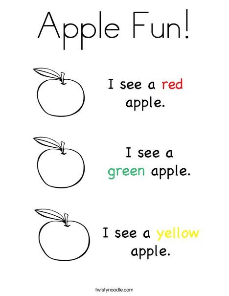 Apple Fun Coloring Page free printable Education