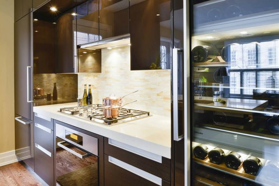 Due to the space limitations of the kitchen a wine fridge was chosen over a microwave as it was deemed more essential! — in Alexandria, VA, United States. Poggenpohl Design : Elizabeth Cosby