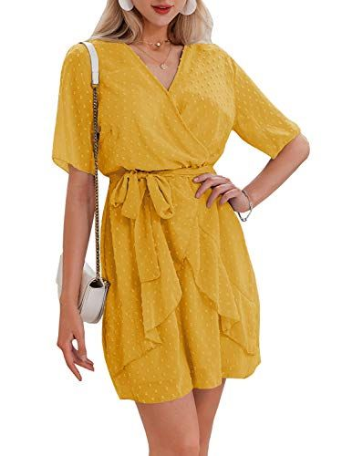 Miessial Women's Summer V Neck Chiffon Ruffle Mini Dress Elegant Tie Waist Short Sundress