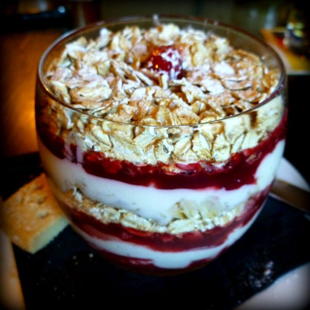 Cranachan, a Scottish dessert. Whiskey, cream, raspberries, and toasted oatmeal layered in a glass. Yum-o!