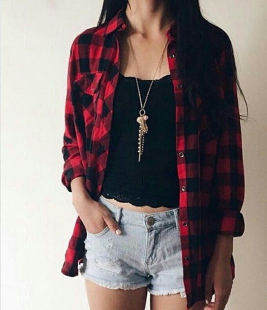 Checkered Flannel Black N Red Flannel Fashion Shirt Outfit Women Womens Casual Outfits [ 1069 x 921 Pixel ]