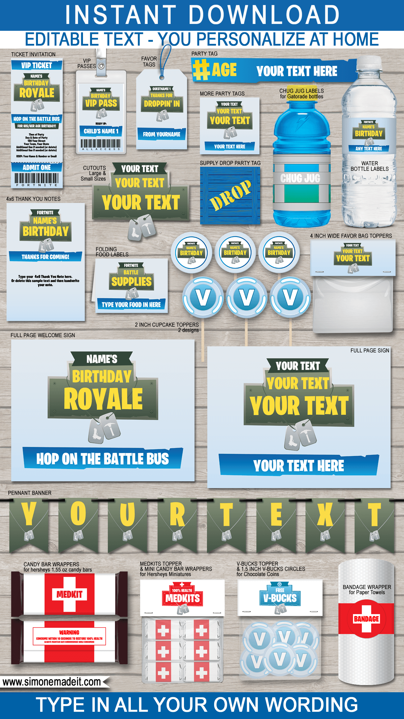 Fortnite Party Printables Decorations Invitations Blue Party Printables Free Party Printables Birthday Party Invitations