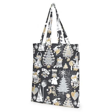 Christmas Moomin black shopping bag by Finlayson