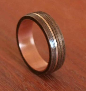 Wooden Rings Bentwood Copper And Walnut Inlay Mens Wood Womens Engagement Wedding Bands
