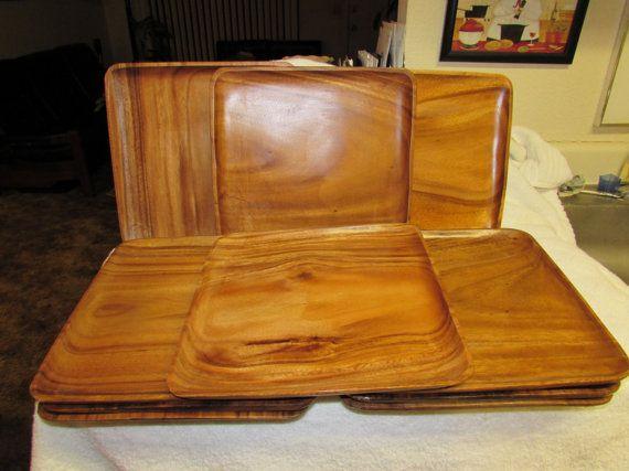 Vintage 1960\u0027s Square Teak Wood Dinner Plates or Trays 12\ x12\  Set of 10 & Vintage 1960\u0027s Square Teak Wood Dinner Plates or Trays 12\