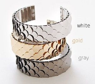 Stainless Steel 3 Color Scales Cuff Adjust Bangle Bracelet