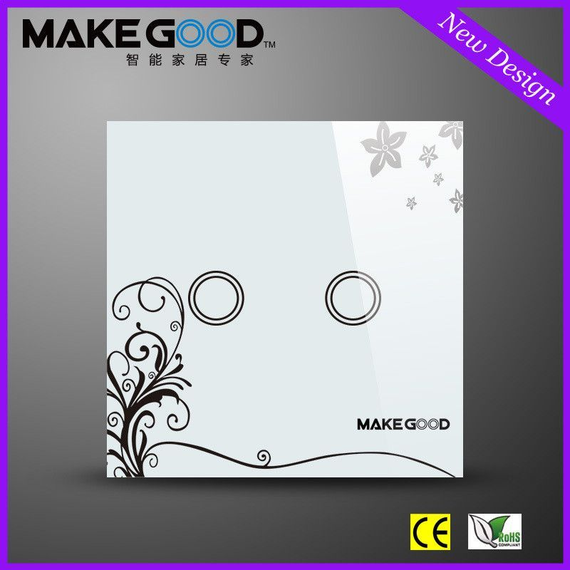 Makegood New Design Glass Panel Touch Light Switch Wall Switches 2 Gang 2 Way With Blue Led Indicator For Eu Standard 240v6a