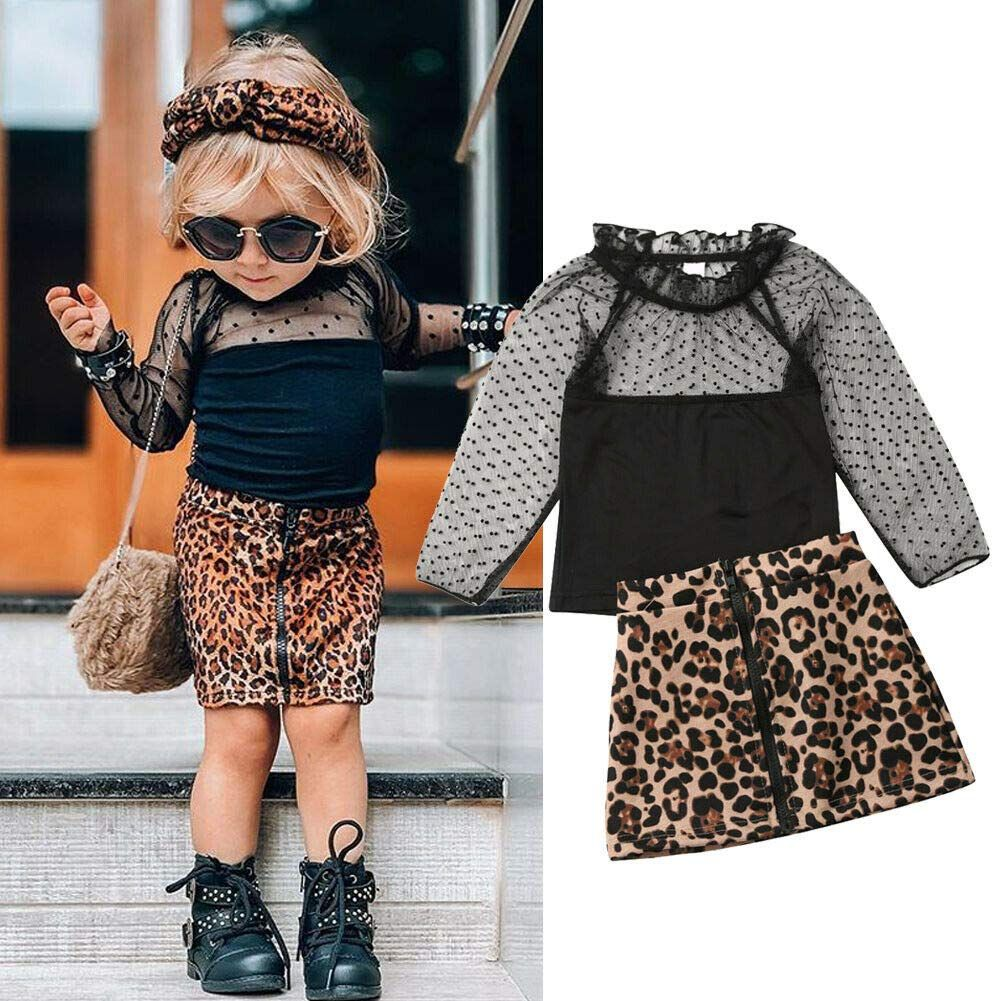 2Pcs Toddler Baby Girls Camouflage Clothes Outfit Black Tops