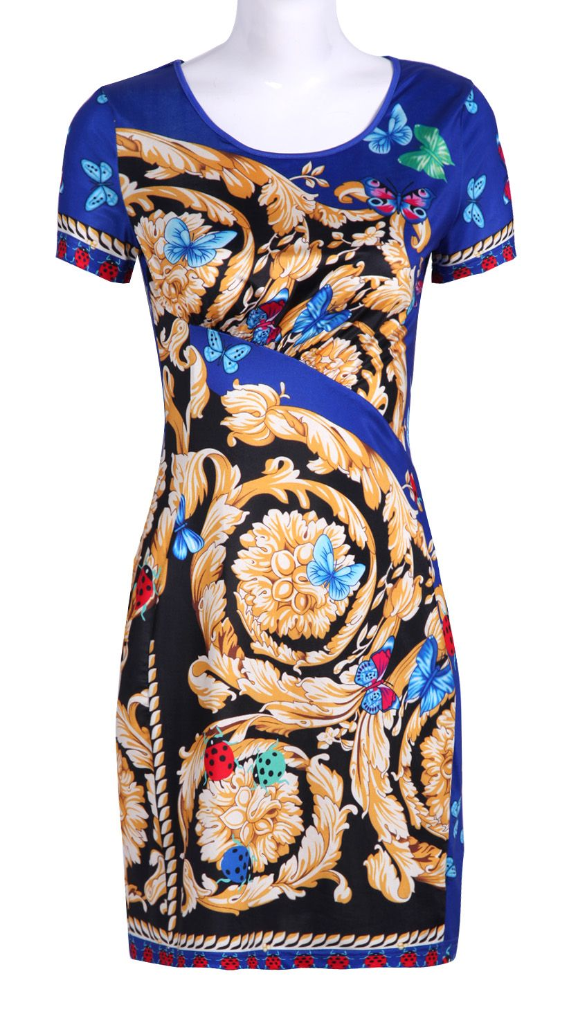 Blue Short Sleeve Butterfly Floral Print Dress