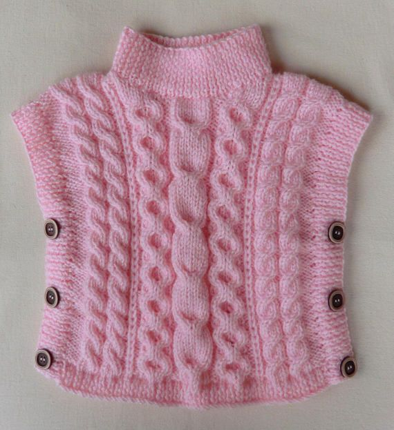 poncho pull tunique sans manches en laine pour enfant b b fille coloris rose taille 1 an et. Black Bedroom Furniture Sets. Home Design Ideas