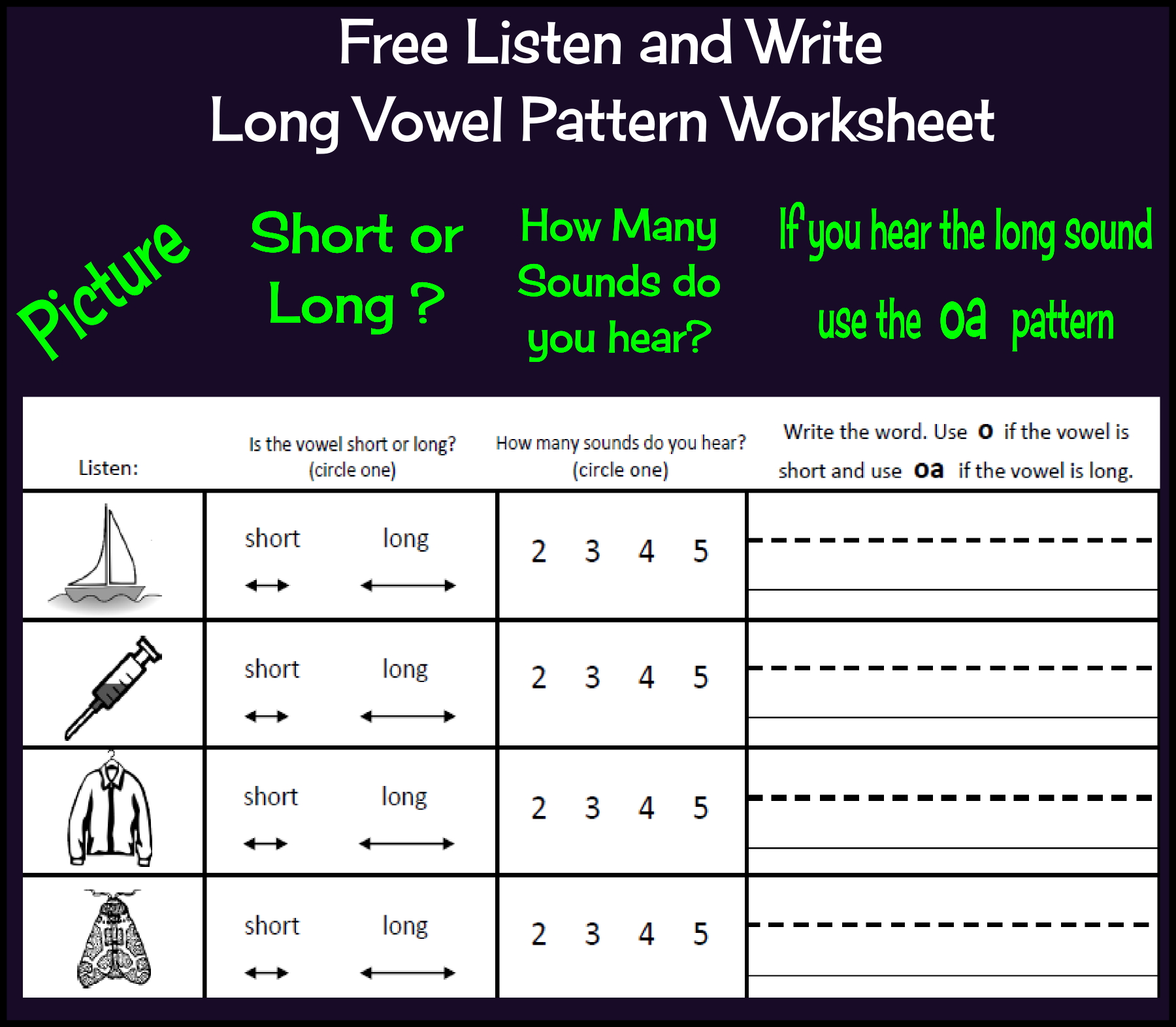 Free Listen And Write Long Vowel Patterns Long O Worksheet