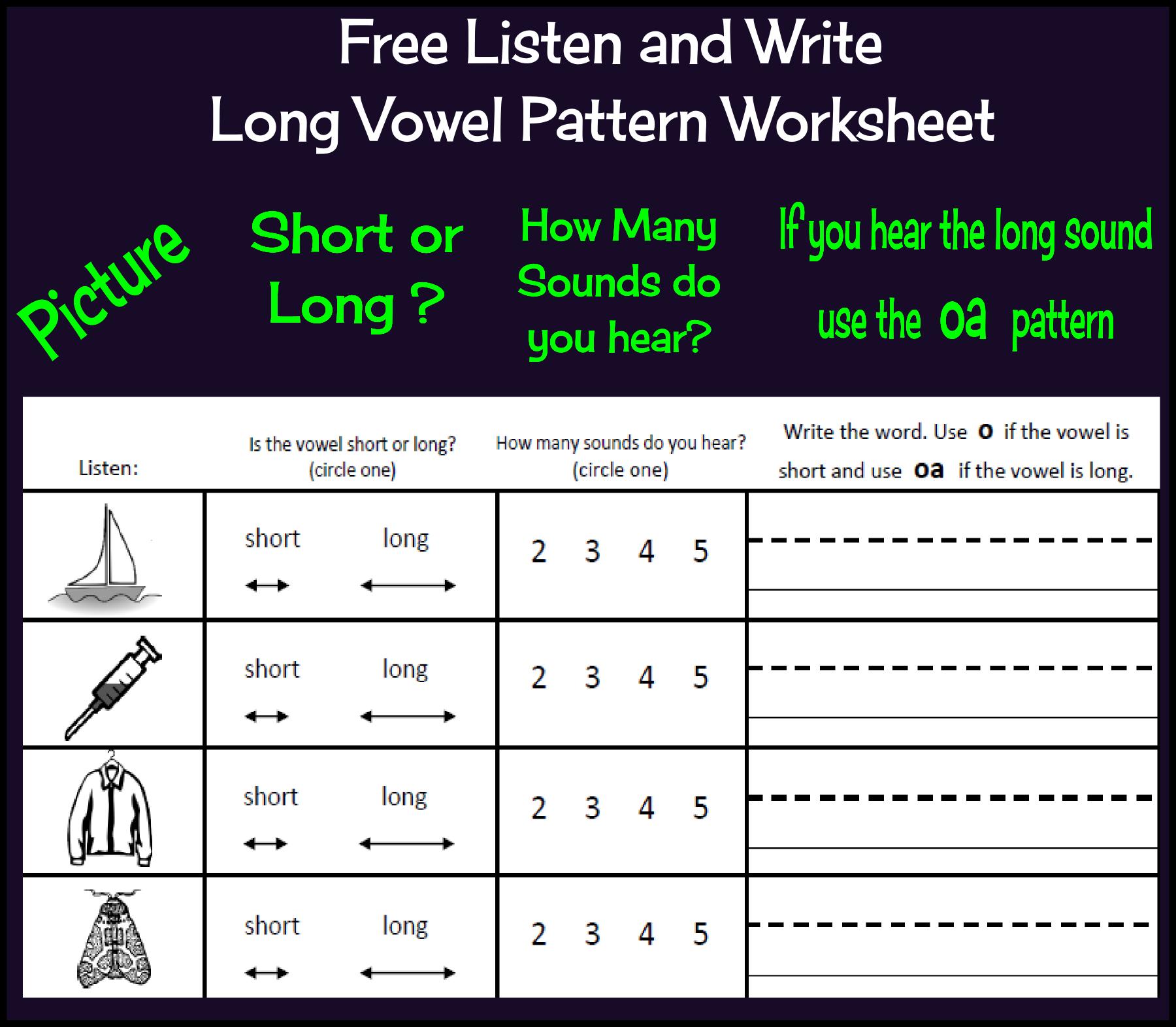 Free Listen And Write Long Vowel Patterns Long O Worksheet Slp