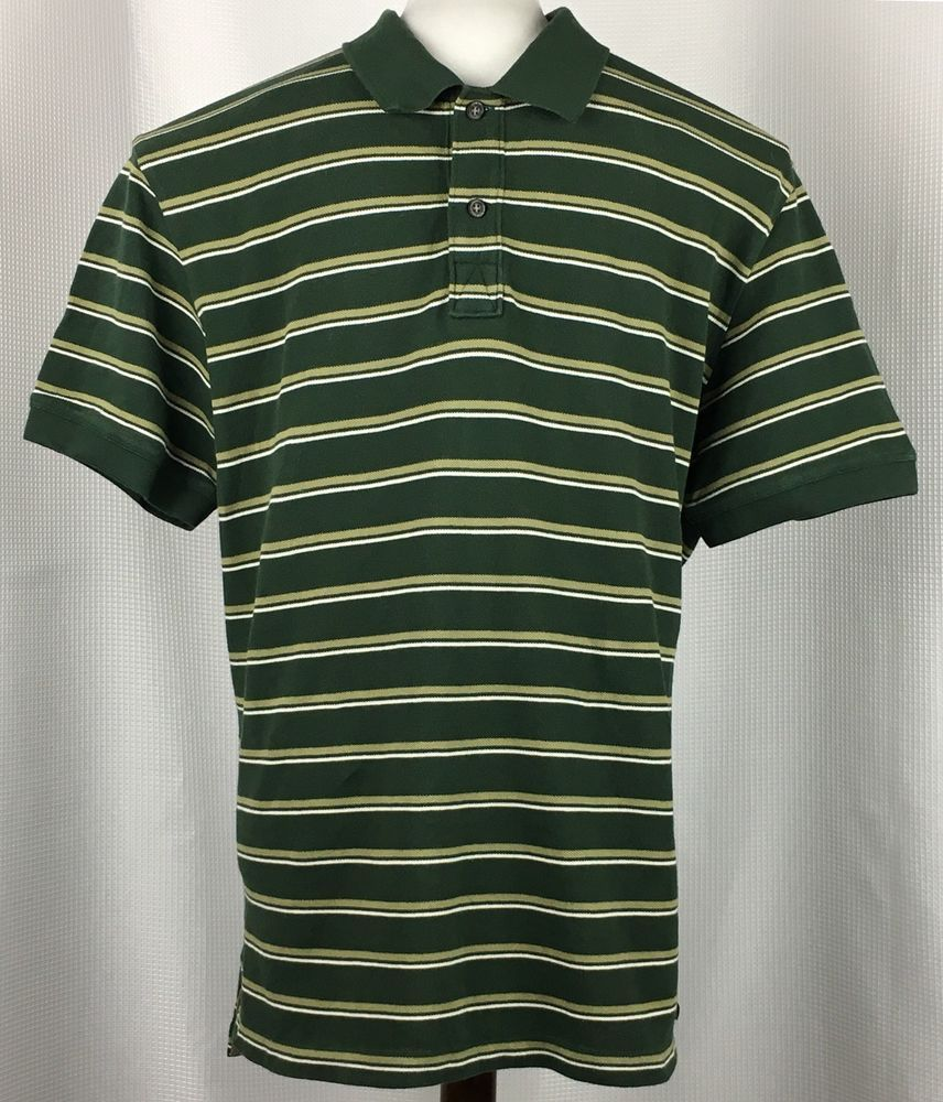 4b35327d8d9 Eddie Bauer Mens Striped Polo Shirt XL Short Sleeve Green White St Patricks  Day #EddieBauer #PoloRugby