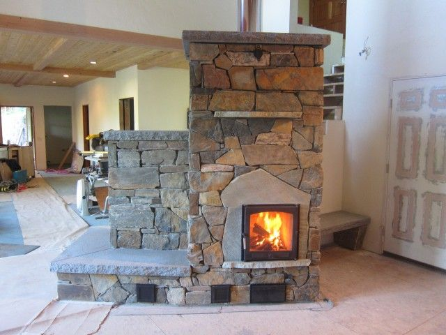 Masonry Heater With Stone Facing In Eugene Or Straw