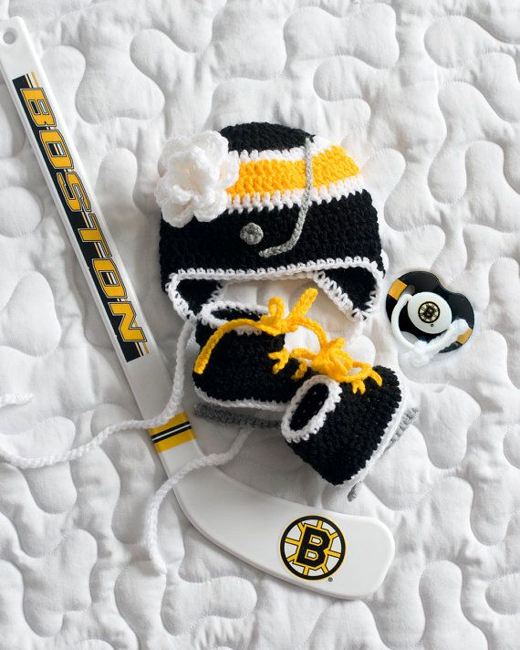 Photo of Baby Girl Hockey Crochet Skates, Hockey Baby Knit Hat, Hockey Knit Skates, Crochet Hockey Hat, Baby Girl Clothes, Black and Gold Hockey Gift