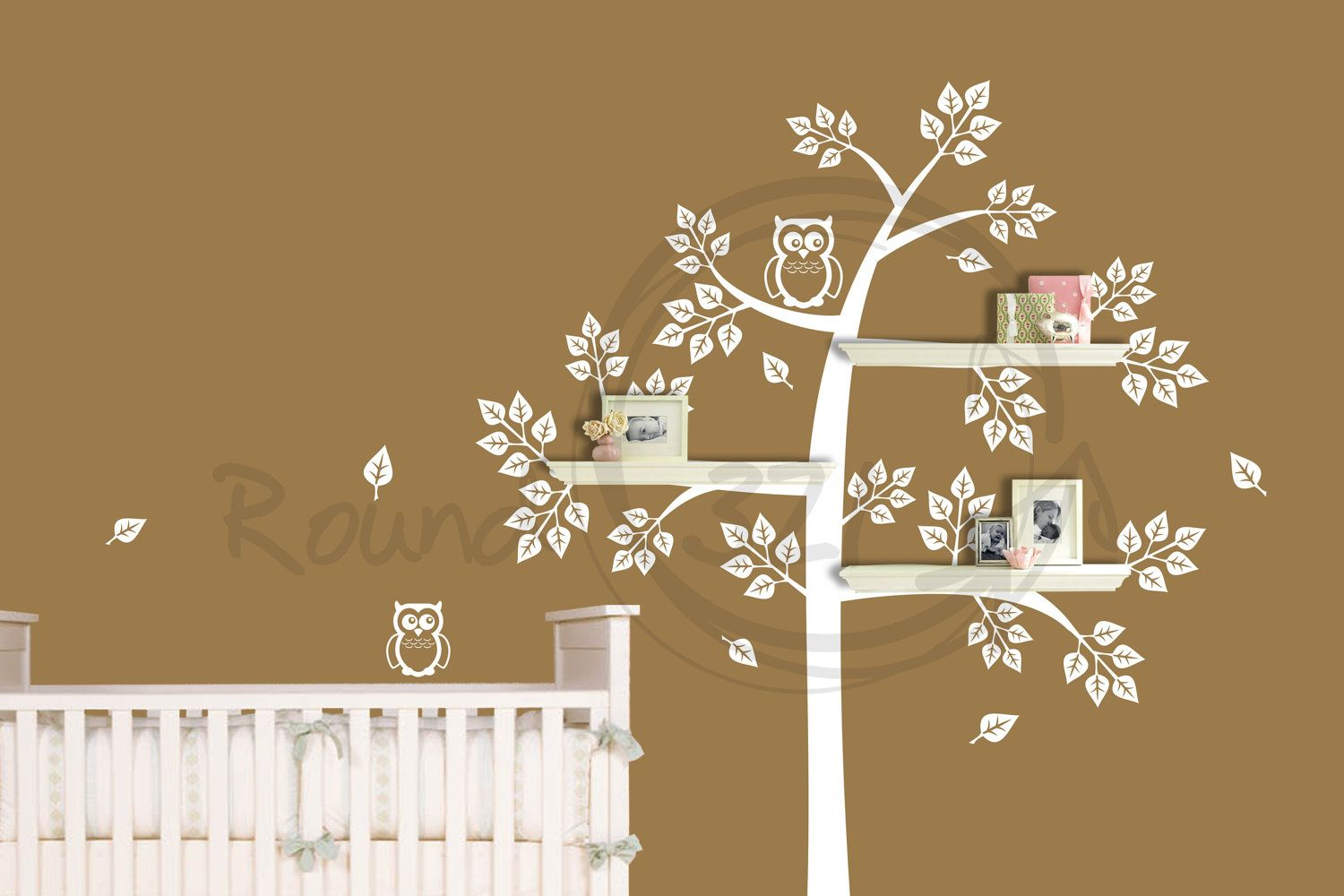 Shelve tree wall decal with mommy baby owl bedroom and or shelve tree wall decal with mommy baby owl bedroom and or playroom wall amipublicfo Gallery