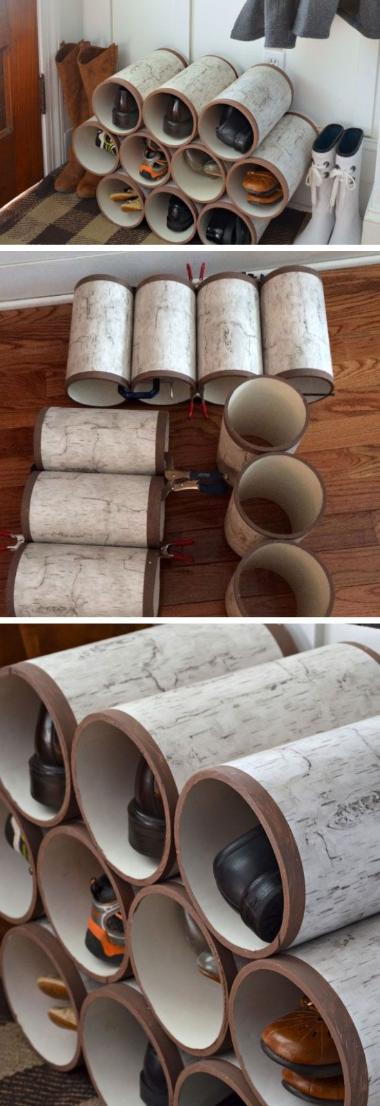 PVC Pipe Shoe Organizer | 22 Easy Shoe Organization Ideas for the Home . . .  Looks like a map rolled around each piece.
