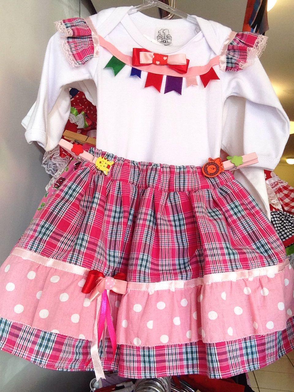 Vestido Junino Roupa Festa Junina Cor Azul Rosa Ou Vermelho