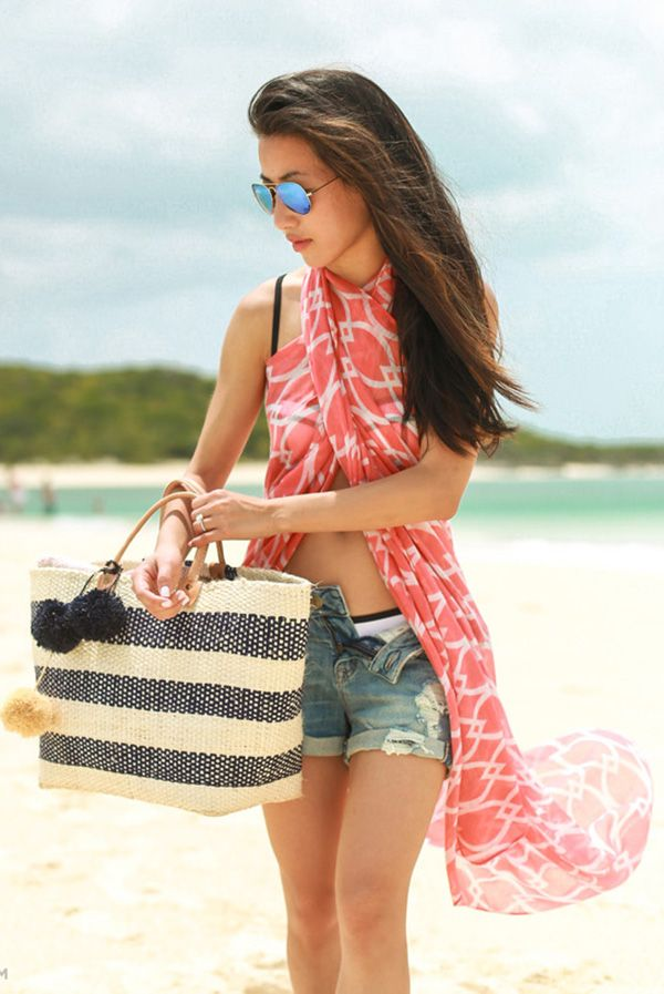 9a9a31c1ab Beach Outfit Idea: A really good idea. Just use your light weight scarfs  from Fall or Winter as a cover-up. Via Jean Wang Shorts: Express, Scarf:  Unknown, ...