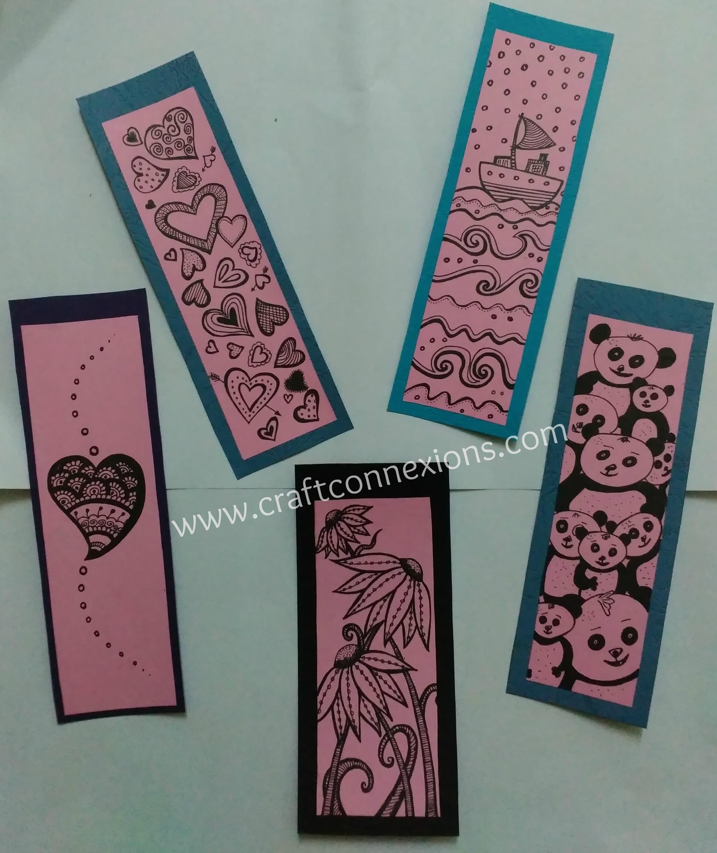 Handmade bookmarks doodle bookmarks diy bookmarks for Simple bookmarks
