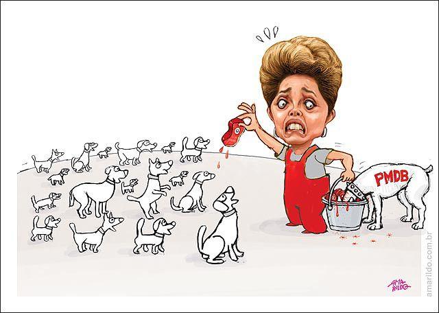 Dilma distribuindo ministérios... e o cachorro do PMDB comendo carne no balde...