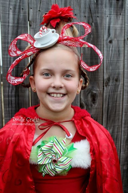 How the Grinch stole Christmas! Great for Crazy hair day Dr. Seuss day Christmas parties or for Halloween costumes!  sc 1 st  Pinterest & Cindy Lou Who Hairdo! How the Grinch stole Christmas! Great for ...