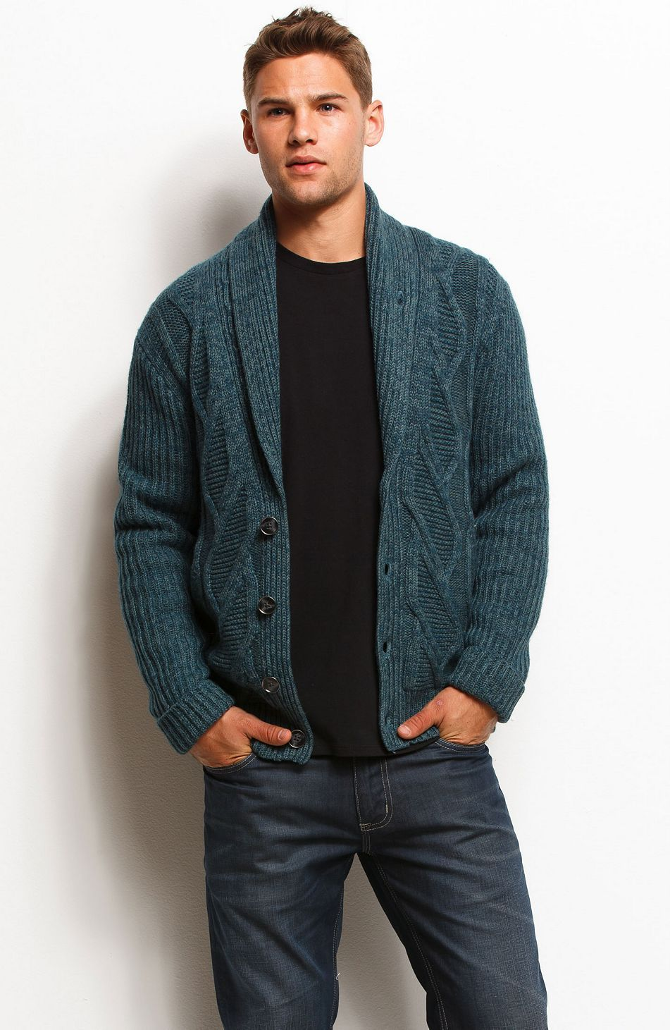 Chunky Cable Knit Cardigan - Sweaters - Mens - Armani Exchange ...