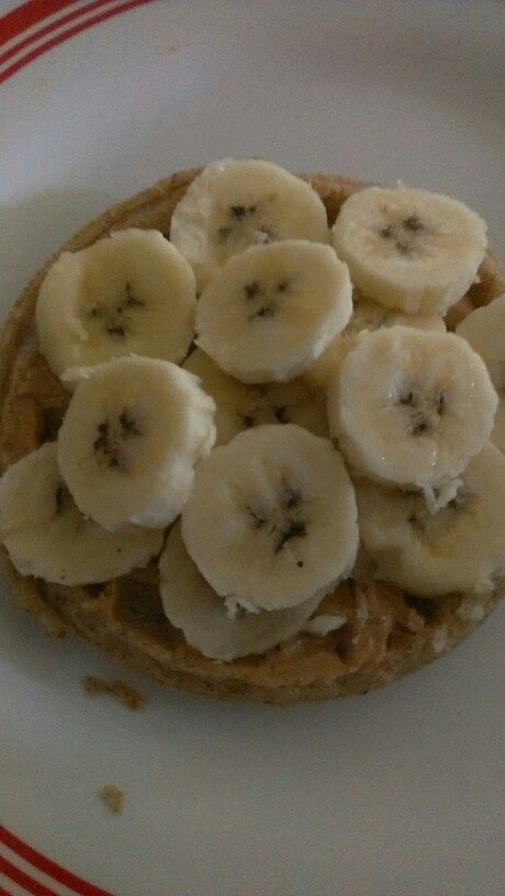 Whole grain eggo waffle, peanut butter, topped with bananas...
