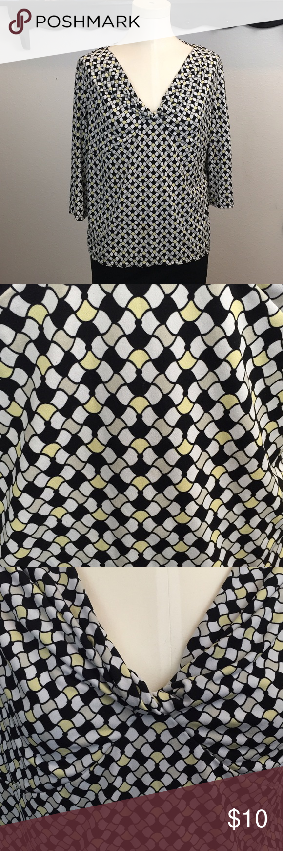 ❤️Geometric Print Work Blouse ~Get this classic work week top! ~Pair this with a pair of black slacks or skirt and you are ready for the office! ~This features a knotted detail at the v-neck collar. ~This has been worn a few times.  This is in good condition! ~There may be some signs of wash wear. ~Get this now! ~NO TRADES Tops Blouses