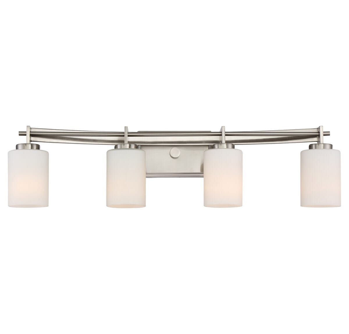 """Photo of Quoizel Taylor 4-Light 8 """"washstand lamp made of brushed nickel"""