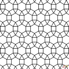 Tessellation With Hexagon Triangle And Square Coloring Page