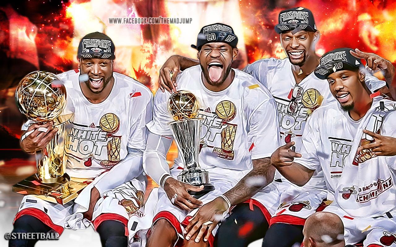 LeBron James, Dwyane Wade and Chris Bosh Miami Heat NBA