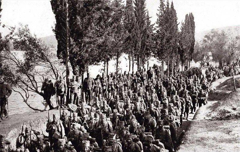 Serbian Troops Waiting To Embark From Corfu