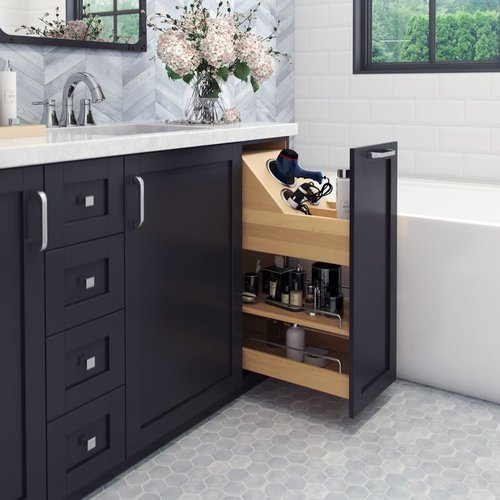 Hardware Resources 8-1/2 Inch Width No Wiggle Vanity Cabinet Pullout with Soft-Close Undermount Slides, Min. Cabinet Opening: 9 Inch Width VBPO8-SC