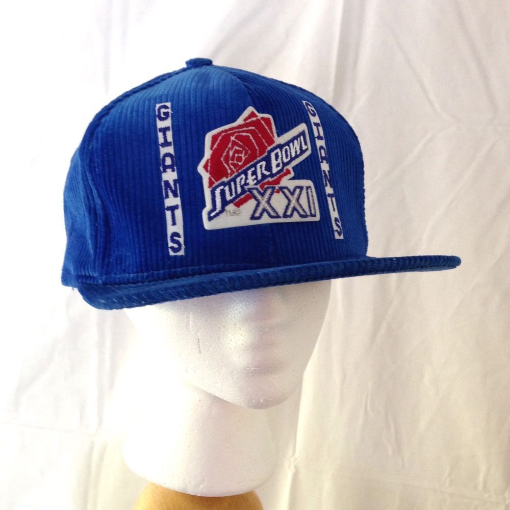 Vtg NY Giants Blue Corduroy Super Bowl XXI Hat - Adjustable Size Snapback   NFL 77cfca4e2c1