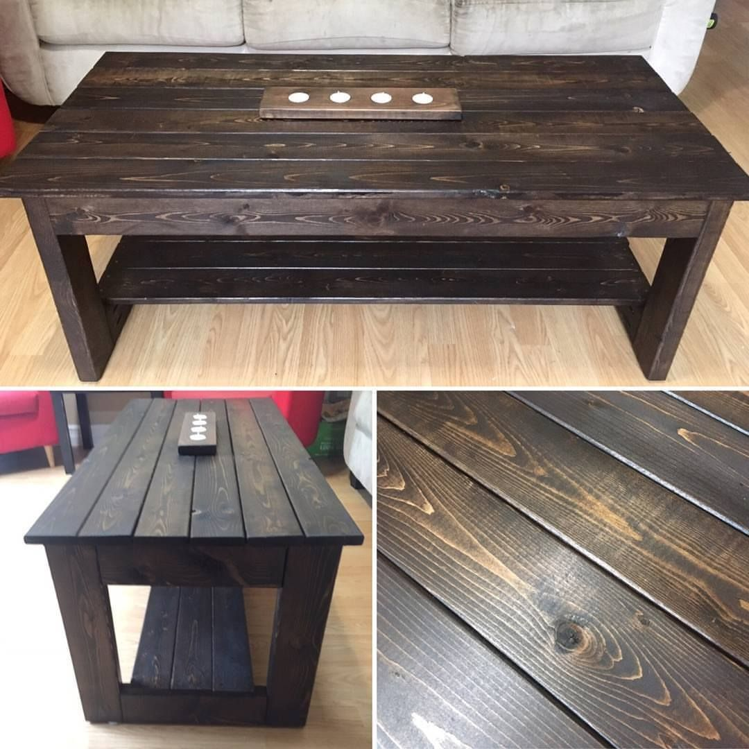 Handmade From New Materials Stained With A Rich Dark Espresso Kona Color And Protected With Polyurethane Would Stained Table Staining Wood Wood Stain Colors