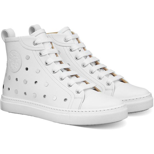 Hermès Sneakers leather (4.090 BRL) ❤ liked on Polyvore featuring shoes, sneakers, white shoes, leather shoes, white trainers, leather footwear and white leather trainers