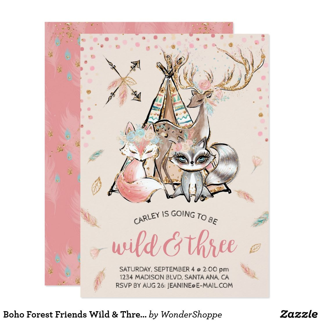 Boho Forest Friends Wild & Three Birthday Invitation