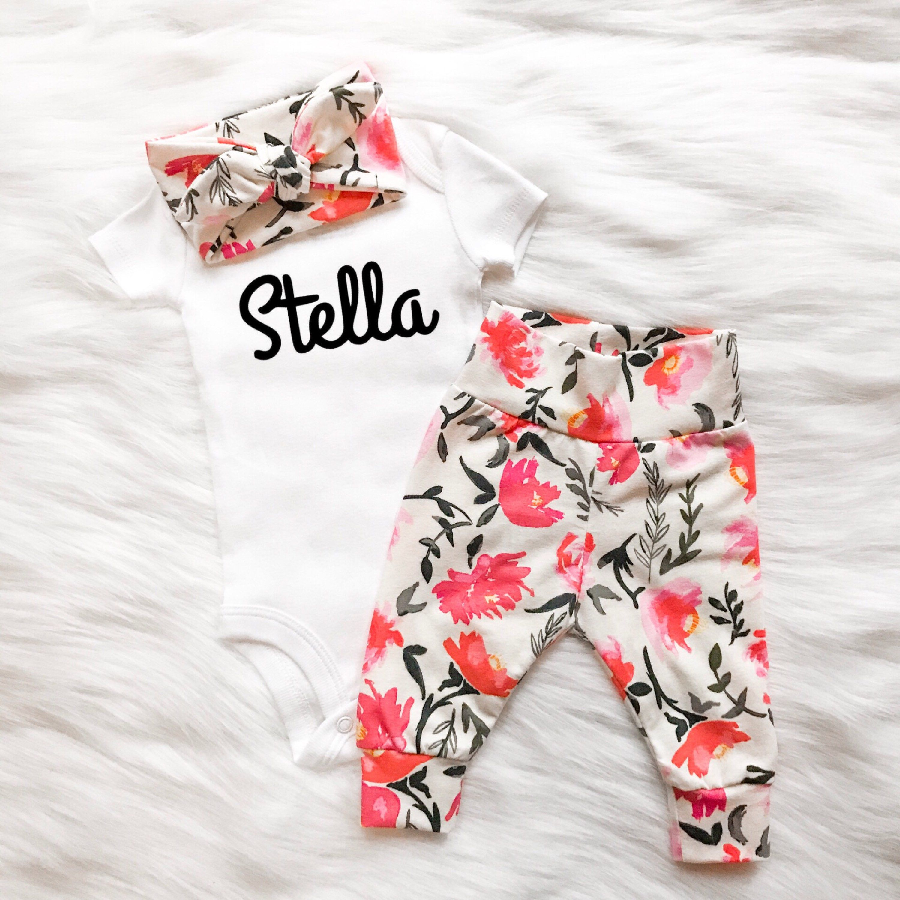 882fa25f1 Pink and white floral baby girl outfit newborn baby girl going home ...