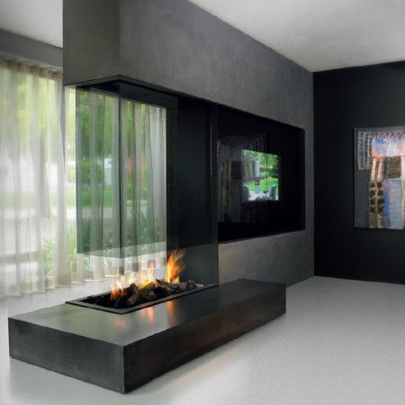 Double Sided Fireplace An Unusual Solution For A Large Rooms Gas Fire Swipe To Change Dimensions