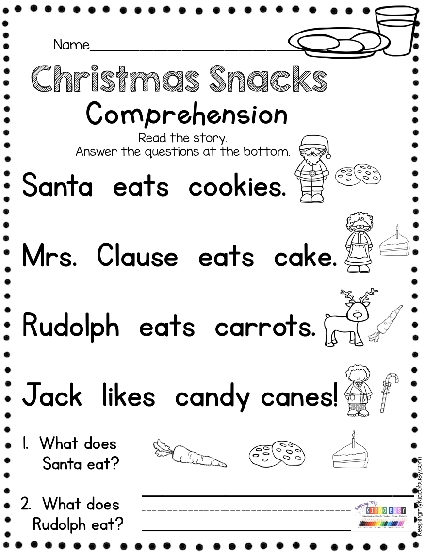 December Reading And Writing Christmas Free Book Keeping My Kiddo Busy Christmas Reading Passages Reading Comprehension Kindergarten Christmas Reading [ 1148 x 876 Pixel ]