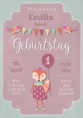 Süße Einladungskarte Zum Geburtstag In Pastelligem Vintage Look Für Mädchen.  #1geburtstag #kindergeburtstag #vintage #fuchs #einladunggeburtstag